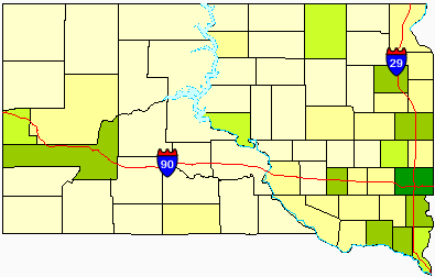 Map showing the density of South Dakota's counties