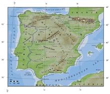 Mapa físico-político de la península ibérica.