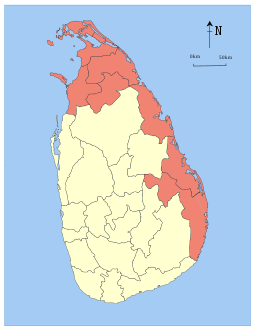Area map of North Eastern Province of Sri Lanka