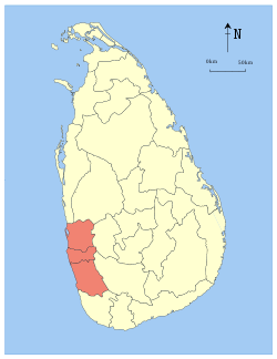 Area map of Western Province of Sri Lanka