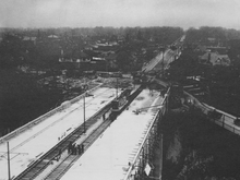 A historic photo of the Vale of Avoca being built with streetcar tracks on it