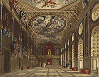 Three pictures show a changing room over time; in the first painting the room is characterised by tall, curved windows and elaborate painted ceilings. In the second painting, the room has been almost doubled in length, with arches and a wooden beamed ceiling. In the third photograph, the ceiling is made of fresh oak and a large red carpet has been installed.