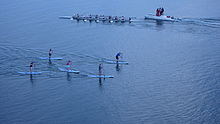 Standing paddleboarders and rowers enjoying Upper Newport Bay
