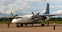 Un Antonov An-24 de la aerolínea Star Perú preparandose para el despegue en el Aeropuerto Internacional Coronel FAP Francisco Secada Vignetta. (Enero de 2006)