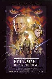 """Illustration depicting various characters of the film, surrounded by a frame which reads at the top """"Every saga has a beginning"""". In the background there is a close-up of a face with yellow eyes and red and black tattoos. Below the eyes are a bearded man with long hair, a young woman with facepaint and an intricate hat, three spaceships, a short and cylindrical robot besides a humanoid one, a boy wearing gray clothes, a young man wearing a brown robe holding a laser sword, and an alien creature with long ears. At the bottom of the image is the title """"Star Wars Episode I: The Phantom Menace"""" and the credits."""