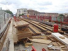 Travaux sur le pont entre Saint-Denis et l'Île-Saint-Denis en juin 2010.