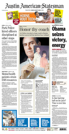 An example of a cover from The Austin American-Statesman in 2008.