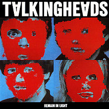 """Album cover containing four portraits covered by red blocks of colour, captioned """"TALKING HEADS"""" (with inverted """"A""""s) at the top and (much smaller) """"REMAIN IN LIGHT"""" at the bottom."""