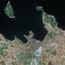Tallinn vue de l'espace par le satellite SPOT