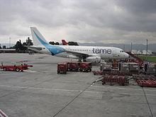 Tame aircraft Bogota airport.JPG