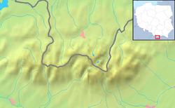 Carte des Tatras (hors Basses Tatras) avec localisation en Pologne