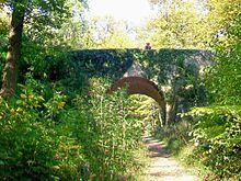 Pont du Diable: pont de pierre piétonnier recouvert de lierre, au dessus d'un autre sentier piétonnier en forêt de Montmorency