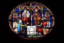 Notre-Dame: rosace au-dessus de la porte du roi Jean, sur  le bas-côté sud, représentant Blanche de Castille, et le connétable de Montmorency présentant à Marie et aux apôtres un plan en noir et blanc de l'Eglise de Taverny