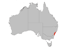 Map of Australia showing a thin, nearly vertical continuous red blob on the lower right edge