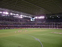 inside of a sport stadium with no roof