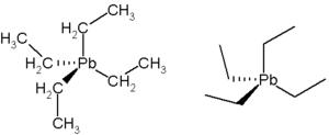 Two chemical diagrams of tetra-ethyl lead, or (CH3CH2)4Pb. On the left one, carbon and hydrogen are labeled, on the right they are shown as lines only.