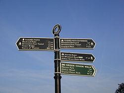 Thames Path sign, Thames Barrier.jpg