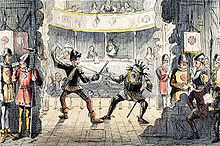A view from the back of a stage. Two unkempt actors enact a swordfight for the audience. Men dressed as soldiers lounge and drink behind the props.