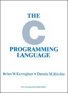 "Book cover for ""The C Programming Language"", first edition, featuring text in light blue serif capital letters on white background and very large light blue sans-serif letter C."