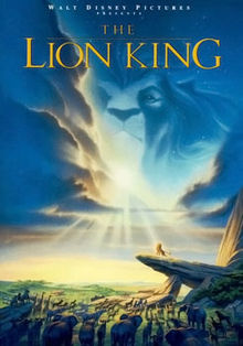 "In an African savannah, several animals stare at a lion atop a tall rock. A lion&squot;s head can be seen in the clouds above. Atop the image is the text ""Walt Disney Pictures presents The Lion King""."