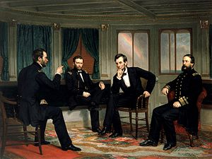 "Painting of four men conferring in a ship&squot;s cabin, entitled ""The Peacemakers""."