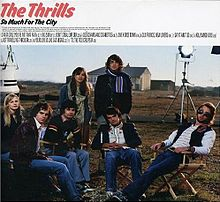 The Thrills sitting and standing in a group in a field