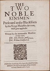 Title page of a play showing co-authors John Fletcher and William Shakespeare.