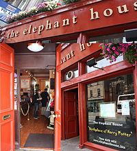 """The Elephant House"", a small, painted red café where Rowling wrote a few chapters of Harry Potter and the Philosopher&squot;s Stone."