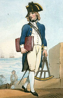 A full size portrait of a boy with long golden hair wearing the uniform of a midshipman: a bicorne hat, a blue tails coat with white patches on the collar, a white waistcoat, breeches and hose, and a sword on the left side.