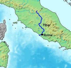 Localización del Tíber en la región central de Italia