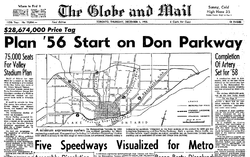 Front page of Globe and Mail newspaper with map in centre of Toronto, showing planned highway corridors
