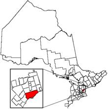 Localización de Toronto en la provincia de Ontario