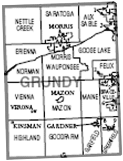 Map of Grundy County, Illinois.