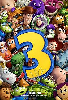 Many toys all close together, with Buzz Lightyear and Woody holding the top of number 3.
