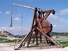 Reconstruction of a trebuchet at Chteau des Baux, France