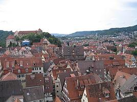 Tübingen Altstadt from the Stiftskirche bell tower.