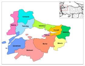 Provincias turcas en el mar de Mármara.