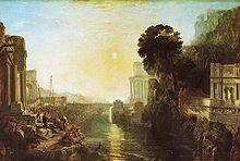 Dido construye Cartago, o el auge del reino cartaginés (1815), de  Joseph Mallord William Turner, National Gallery, inspirada en la obra de Lorrain.