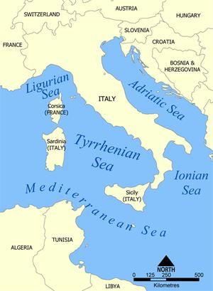 Mapa político de la región del mar Tirreno.