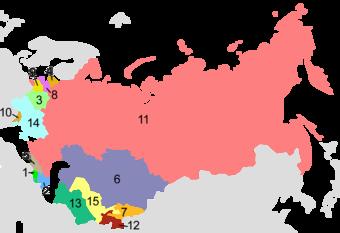Mapa de las Repúblicas Soviéticas