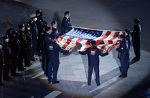 American flag from the World Trade Center during the 2002 Winter Olympics