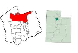 Localización de Salt Lake City en el Condado de Salt Lake, Utah