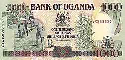 The 1000-shilling note depicts a farmer on one side and grain storage on the reverse.