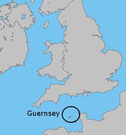 Location of Guernsey(Dark Green)
