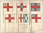 Page of ancient book showing six flag designs, all showing combinations of English and Scottish flags.