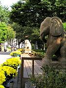 University Symbol statues on Campus