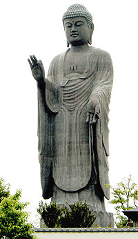 Amitabha Buddha pictured in the Ushiku Daibutsu in Japan