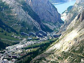 Vue du village de la Daille à Val-d'Isère