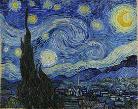 A painting of a scene at night with 11 swirly stars and a bright yellow crescent moon. In the background there are hills, in the middle ground there is a moonlit town with a church that has an elongated steeple, and in the foreground there is the dark green silhouette of a cypress tree.
