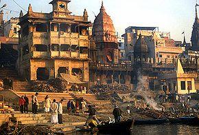 Vue d'un ghât de Varanasi